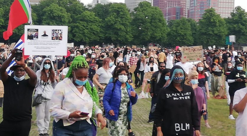 Protestors gather on the Malieveld in The Hague to denounce systemic racism and police violence against people of color. June 2, 2020