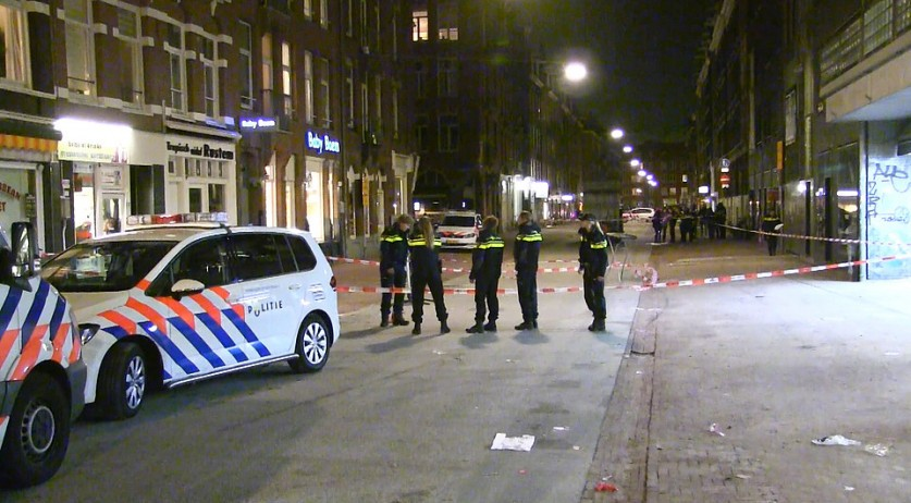 Police at the scene of a fatal shooting on Ten Katestraat in Amsterdam on 11 Nov 2016. Nouafal Mohammadi was killed