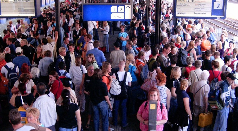 Crowded train station in the Netherlands