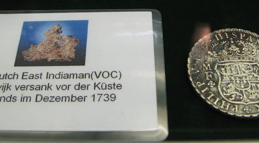 A silver coin from De Rooswijk, a Dutch East Indies ship that sank near England in 1740