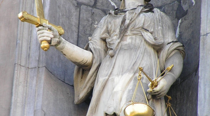 Lady Justice in Antwerp; one of few statues in which the lady is not blindfolded