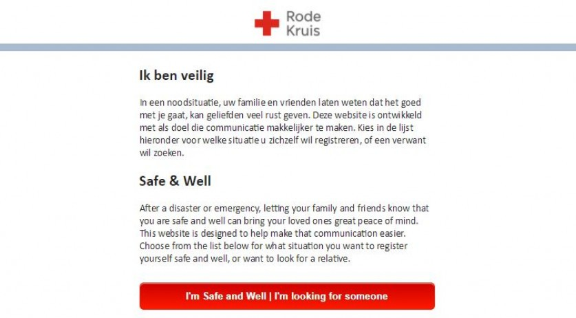 "Red Cross activates its ""I'm safe and well"" website for Hurricane Irma survivors on Sint Maarten, Sint Eustatius and Saba, 6 Sept 2017"