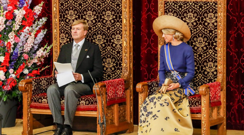 King Willem-Alexander and Queen Maxima during the King's Speech on Budget Day 2016