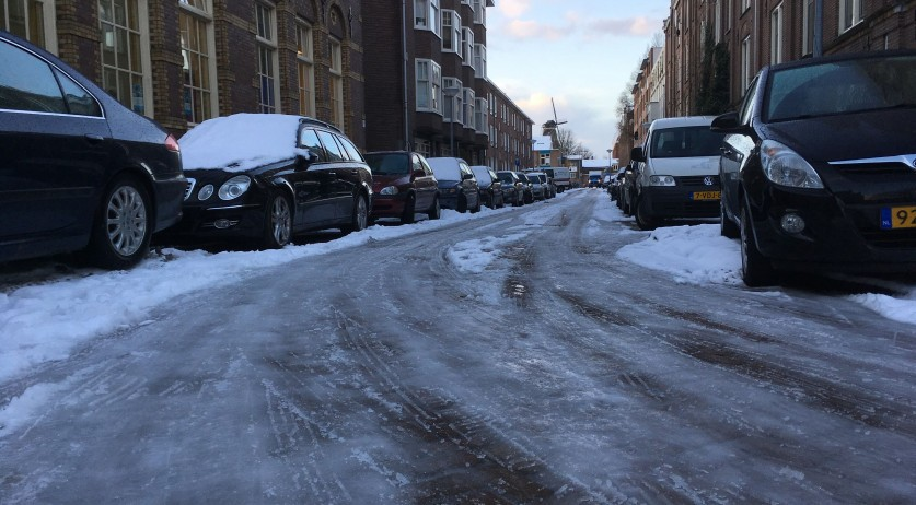 An icy road in Amsterdam, 12 Dec 2017