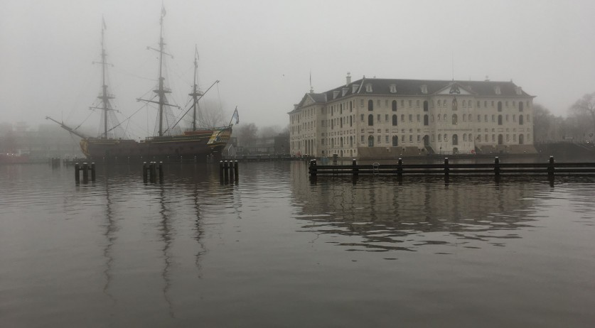 The tall clipper ship Stad Amsterdam outside the Scheepvaartmuseum shrouded in fog, 21 Dec 2017
