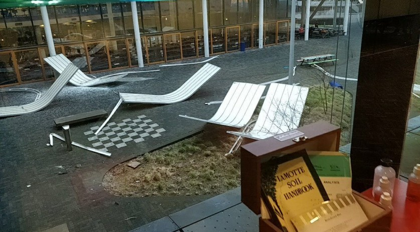 Pieces of the University of Amsterdam Science Park's roof blown off by hurricane strength winds, 18 Jan 2018