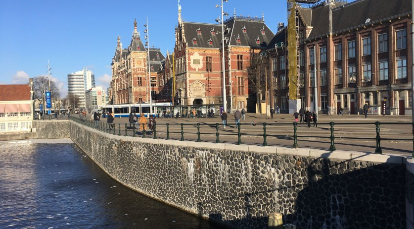 A quiet, sunny Amsterdam Central Station, 26 Feb 2018