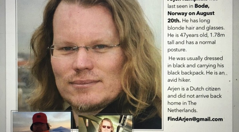 Arjen Kamphuis, missing in Norway since 20 August 2018