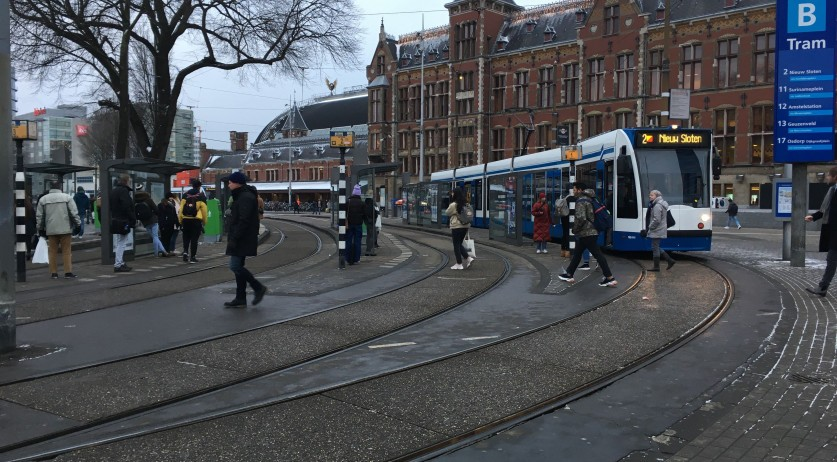 Tram at Amsterdam Central Station, 23 Jan 2019