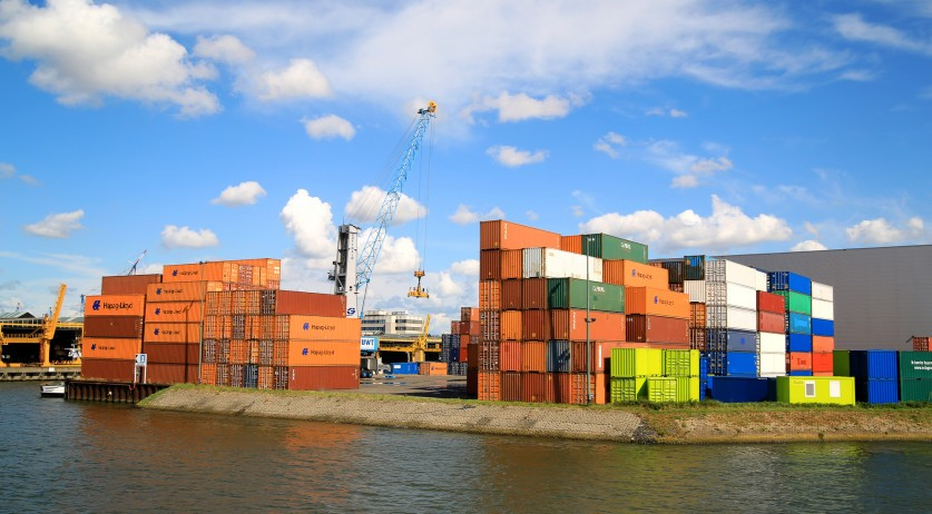 Containers in the port of Rotterdam