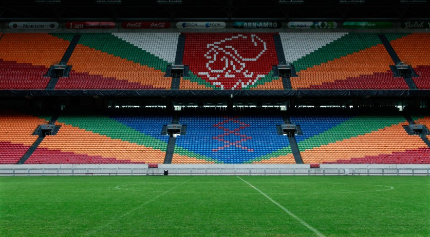The Ajax logo at the Johan Cruijff Arena in Amsterdam