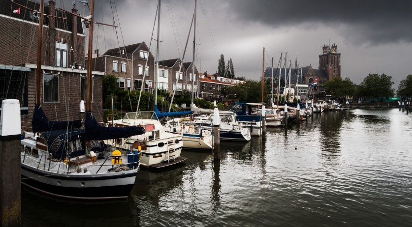 Storm clouds over the Dordrecht inner harbor