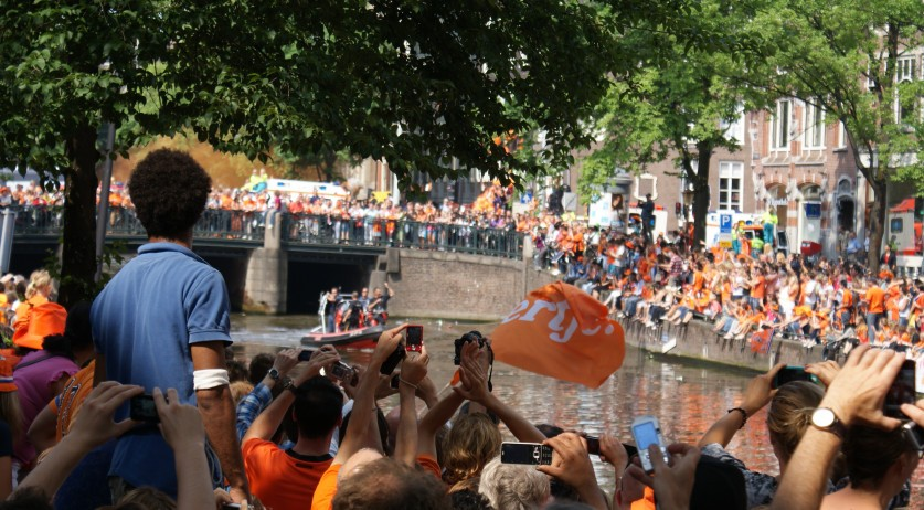Thousands line the Amsterdam canals to congratulate the 2010 World Cup team's second place finish. July 13, 2010