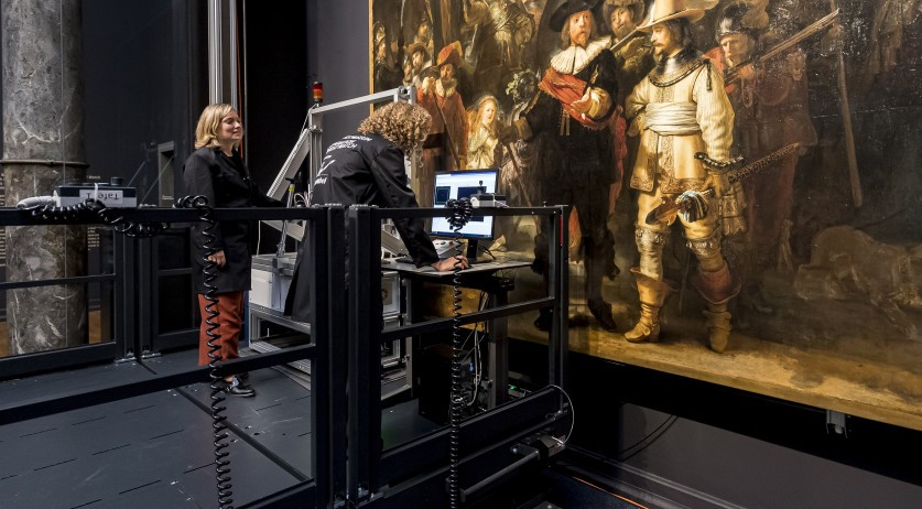 Researchers examining the Night Watch by Rembrandt van Rijn in preparation for a major restoration, July 2019