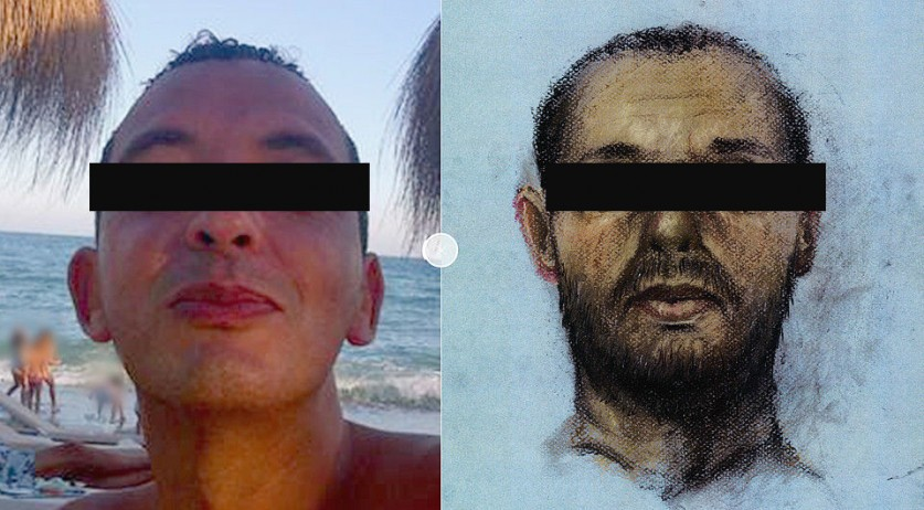 Ridouan Taghi with a sketch aged to show what he may look like today