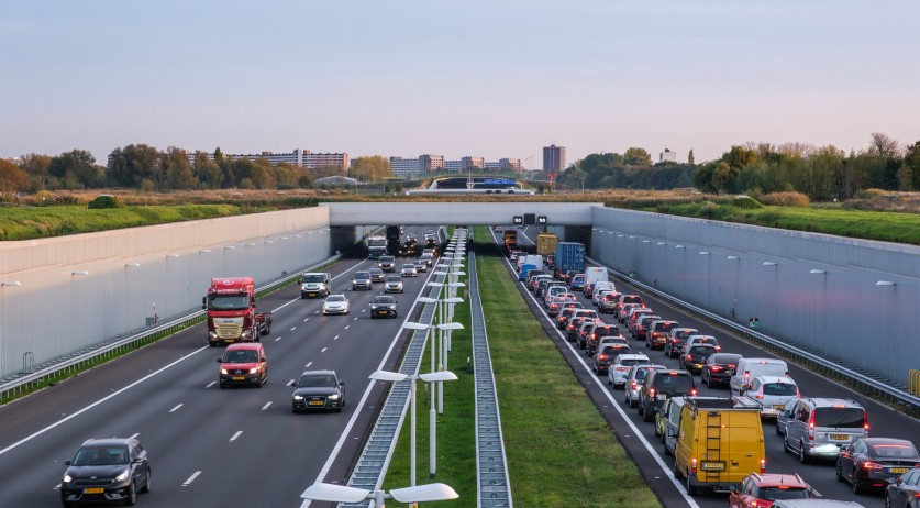 Afternoon traffic on the A4 near Rotterdam