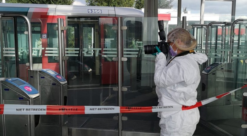 Scene of a stabbing on the Rotterdam Metro