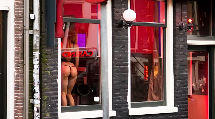 Sex worker in Amsterdam's Red Light District