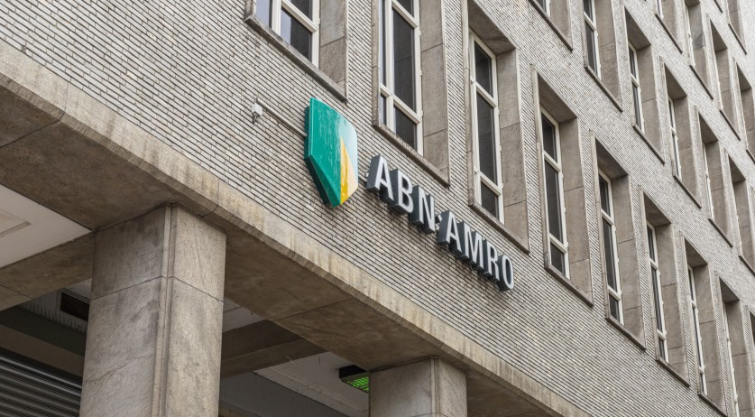 ABN Amro logo on a building in Rotterdam