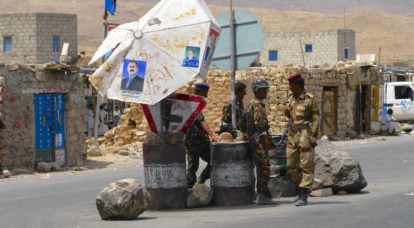 Unidentified Yemeni military on duty at the security checkpoint in Hadramaut valley, Yemen