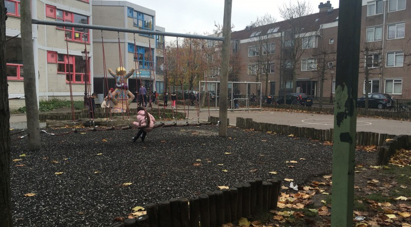 Playground outside a school in Amsterdam Oost
