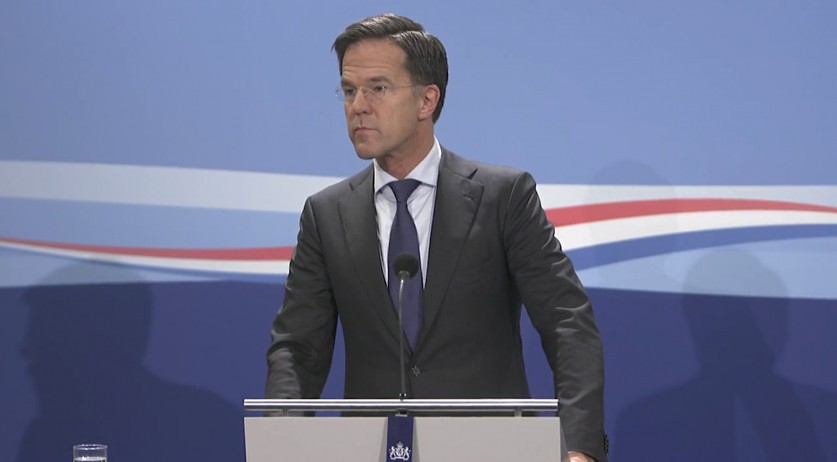 Prime Minister Mark Rutte at a press conference on Nov. 6, 2020