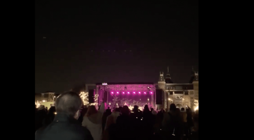 Crowds gathered on Museumplein for demonstrations agains Corona measures