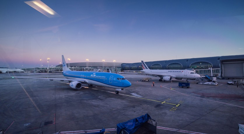 KLM and Air France planes at the Charles de Gaulle Airport in Paris