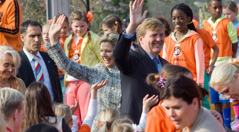 King Willem-Alexander and Queen Maxima opening the King's games in Enschede, 26 April 2013
