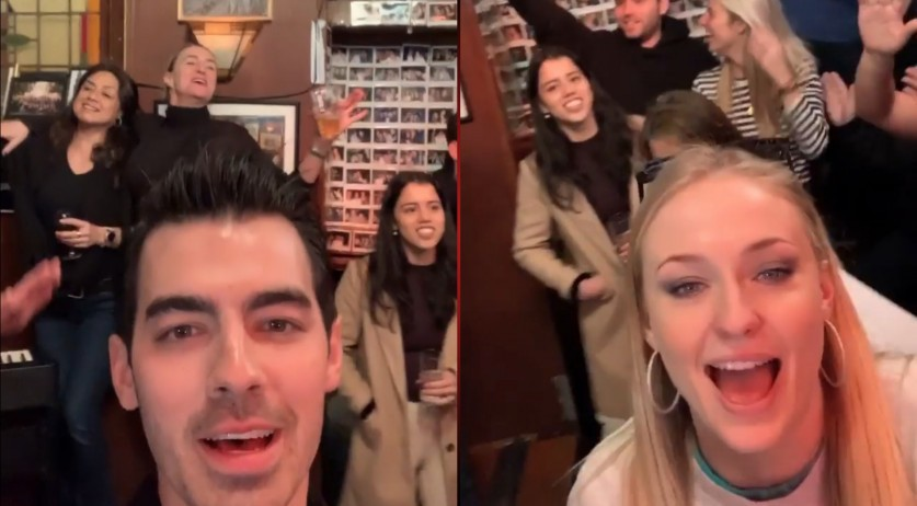 Joe Jonas and Sophie Turner enjoying a singalong in an Amsterdam pub, 20 Feb 2020
