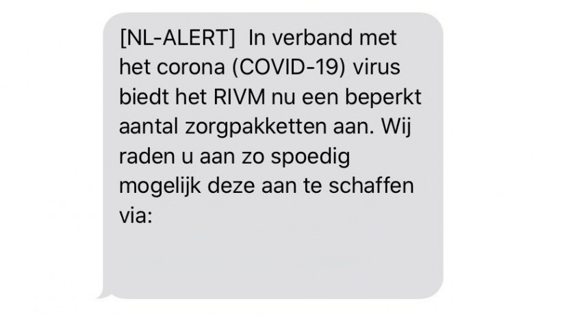 A fake NL-Alert was sent as a scam, health agency RIVM said on April 20, 2020