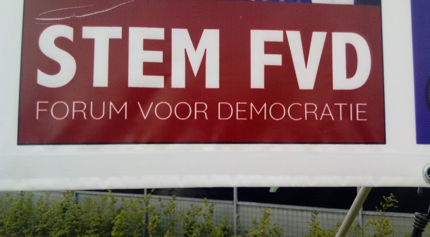 A Forum voor Democratie political poster in Zuidbroek, Groningen, during the 2019 European Parliamentary elections campaign. May 23, 2019