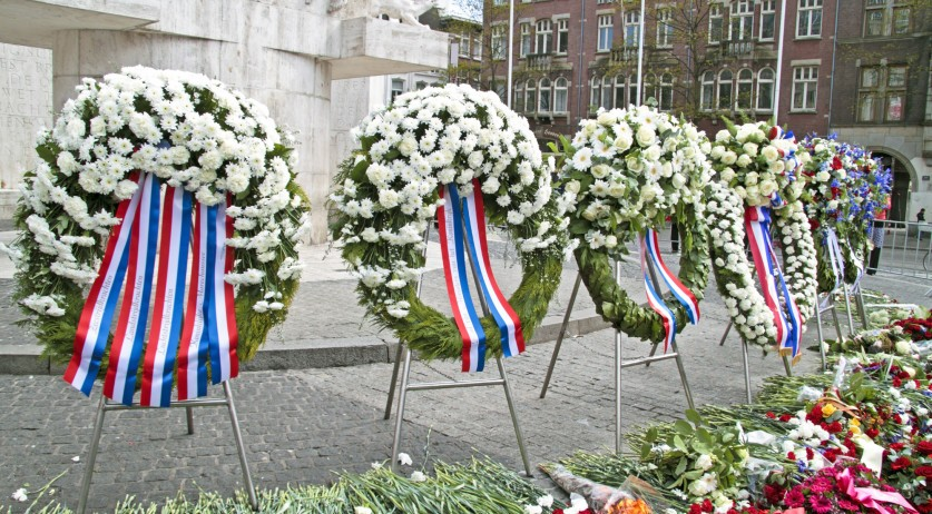 Remembrance Day flowers on Dam Square in Amsterdam