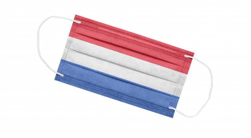 A Dutch flag printed on a medical mask