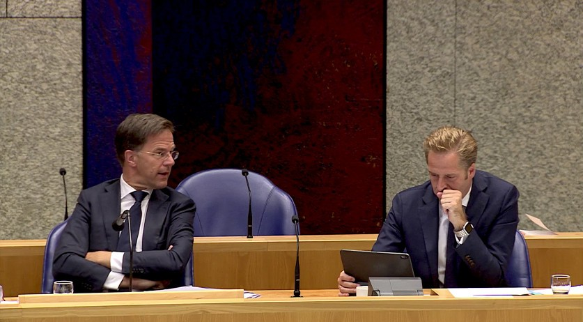 Prime Minister Mark Rutte and Health Minister Hugo de Jonge in a Tweede Kamer debate on the coronavirus, 12 August 2020