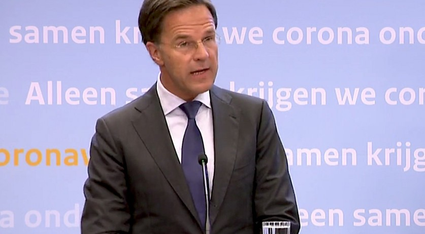 Mark Rutte speaking at a press conference on August 6, 2020