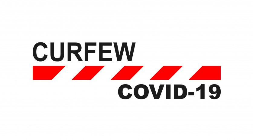 Rendering of a Covid-19 curfew sign
