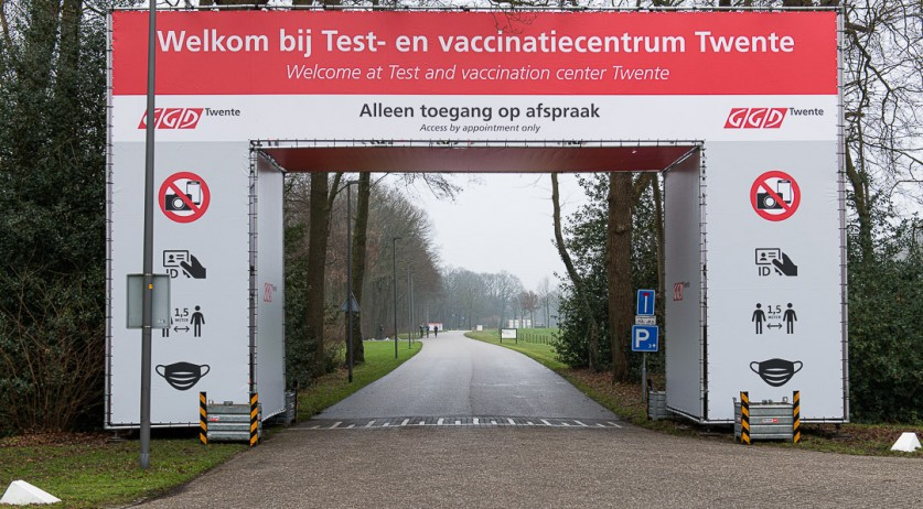 The GGD facility at Twente University for coronavirus testing and Covid-19 vaccinations. 2 January 2021