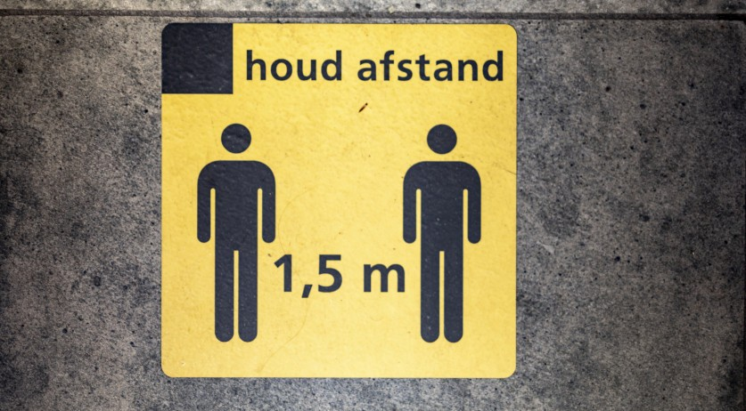 Social distancing sign on a bus in the Netherlands.