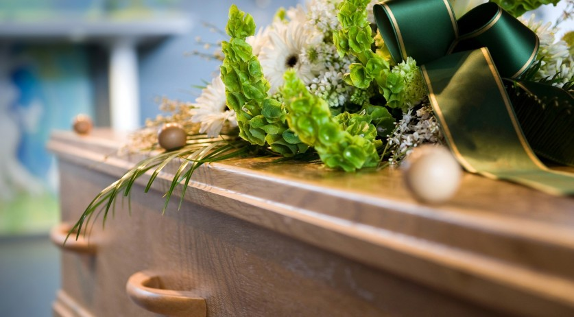 Coffin at a funeral.
