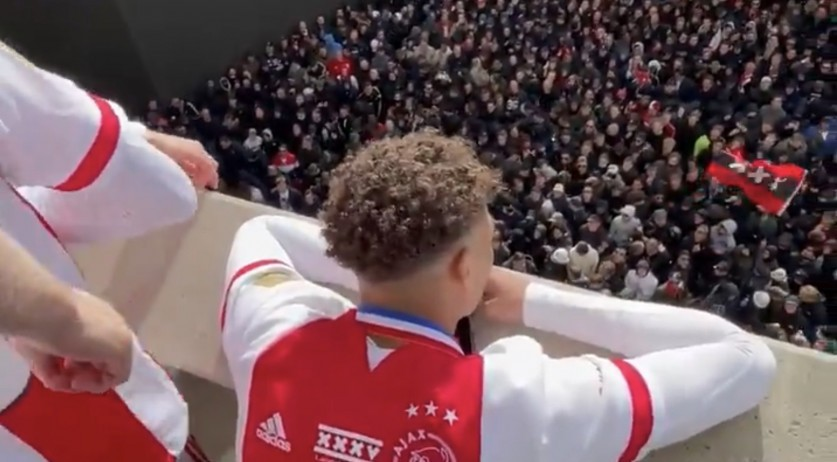 Ajax players celebrate the 2020-2021 Double in front of 12,000 fans gathered at the Johan Cruijff Arena. 2 May 2021