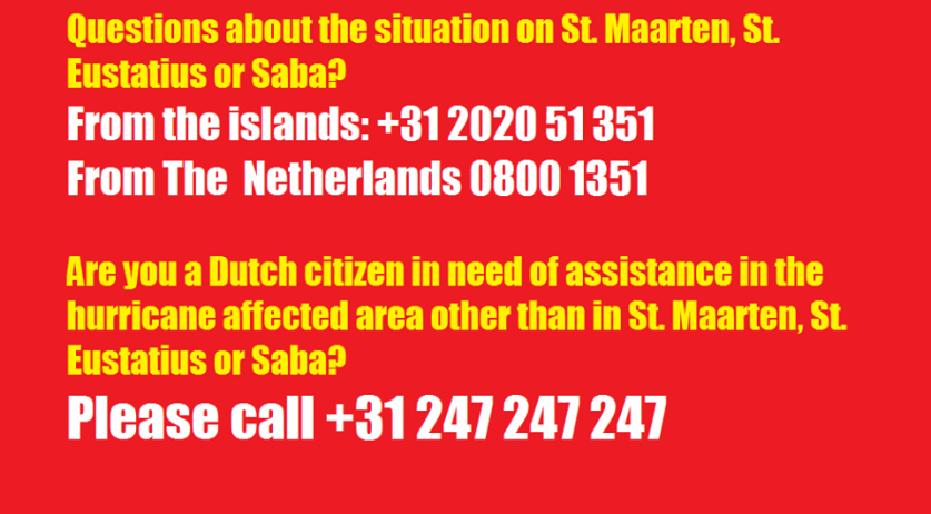 Public information numbers established for information about the situation on Sint Maarten, Saba and Sint Eustatius after Hurricane Irma, 10 Sept 2017