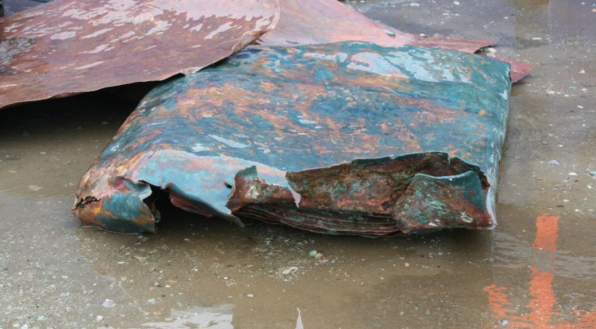 Copper plates found on a 16th century Dutch shipwreck, January 2019