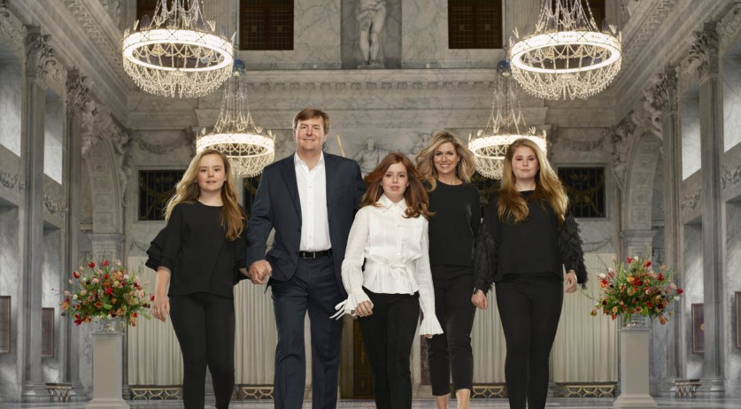King Willem-Alexander and Queen Maxima with their daughters (left to right) Ariane, Alexia and Amalia, March 2018
