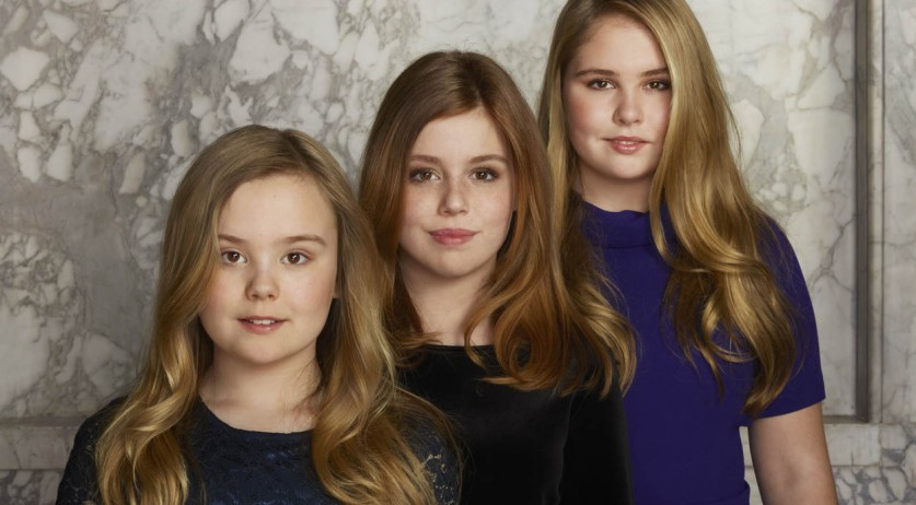 Left to right: Princesses Ariane, Alexia and Amalia, March 2018