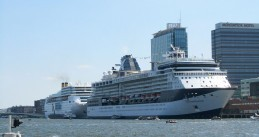 Cruise ships Costa NeoRomantica (l) and Celebrity Constellation at the Passenger Terminal Amsterdam, 12 Aug 2012