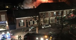 Fire in two stores on Monseigneur Zwijsenplein in Kerkdriel after an ATM bombing, 5 Dec 2016