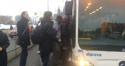Passengers cram on a bus from Amsterdam Central to Sloterdijk, Amsterdam power outage 17 Jan 2017