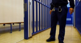 Police guard in a detention center