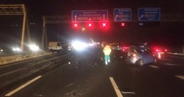 Icy roads cause accident on the A2 from Utrecht to Den Bosch at the Deil junction, 13 Jan 2017